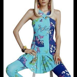 Versace Floral Silk Pleated Asymmetrical Dress